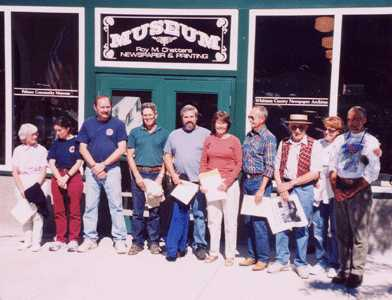 "Volunteers recognized for their exceptional contributions to the Museum project include Trudi McCullough, Annie and Marv Pillers, Ben Barstow, John Sell, Janet Barstow, Bob Olson, Bob West, Paula and Michael Echanove. All were presented ""Honorary Editor"" certificates for their efforts at the museum Grand Re-Opening on Palouse Day 2003."
