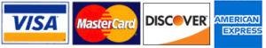 We accept VISA, MasterCard, Discover, and American Express